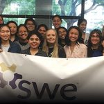 photo of cal state fullerton students at a society of women engineers event