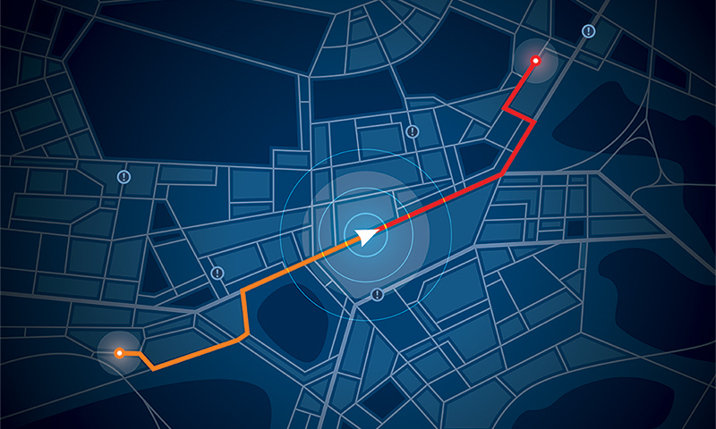 Decorative stock image of map and tracking arrow