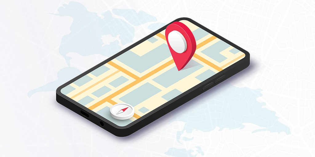 Decorative stock image of a map screen on a smart phone