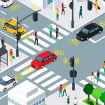 decorative stock image illustration of a busy street intersection