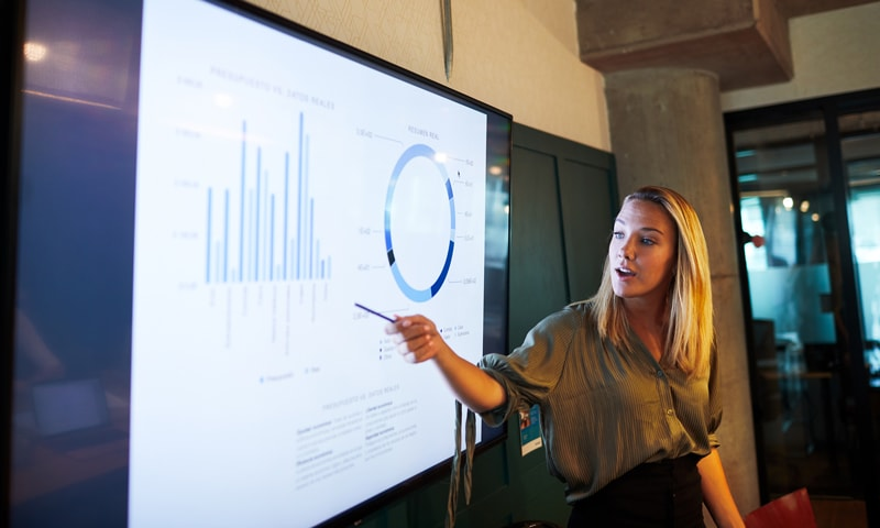 Stock image of student presenting