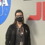 Alumna Lauren DuCharme in mission control.